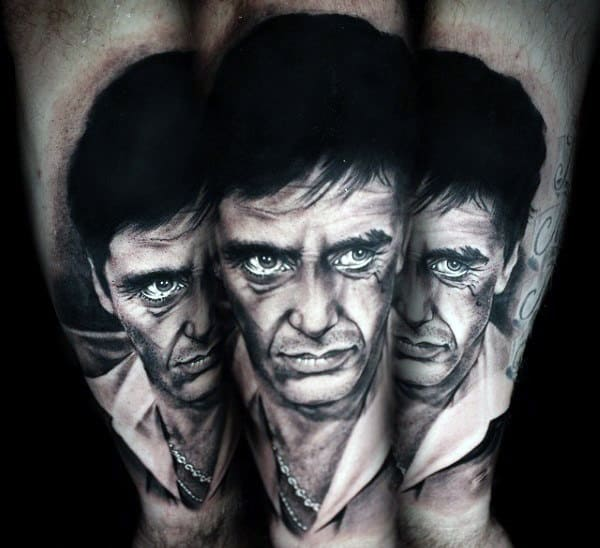 Awesome Mens Scarface White And Grey Ink Outer Forearm Tattoo Ideas