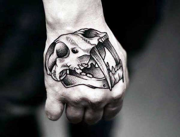 Awesome Mens Skull Animal Hand Tattoos
