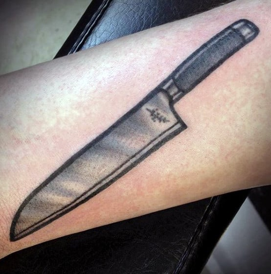 Awesome Mens Small Forearm Chef Knife Tattoo