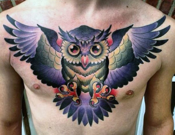 Awesome Men's Tattoo Owls On Chest