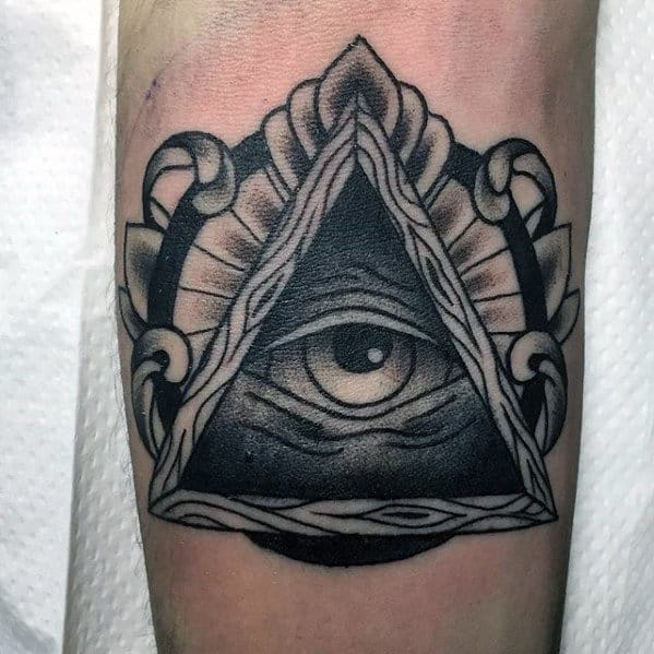 Awesome Mens Traditional All Seeing Eye Inner Forearm Tattoo Design
