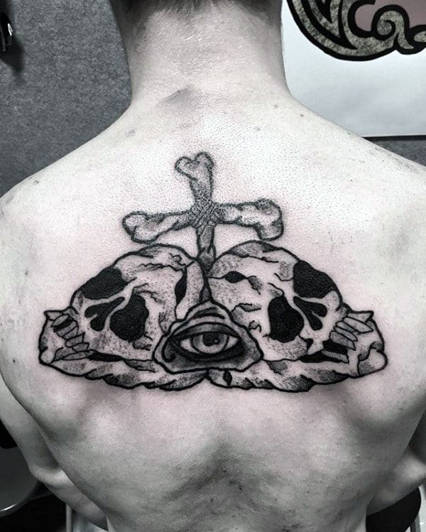 Awesome Mens Traditional Skull And Cross Upper Back Tattoos
