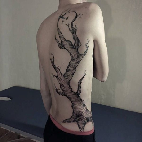 Awesome Mens Tree Oak Back Tattoo Designs