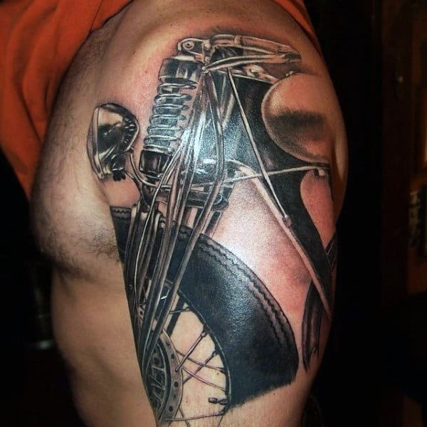 Awesome Mens Upper Arm Motorcycle Biker Tattoo Ideas