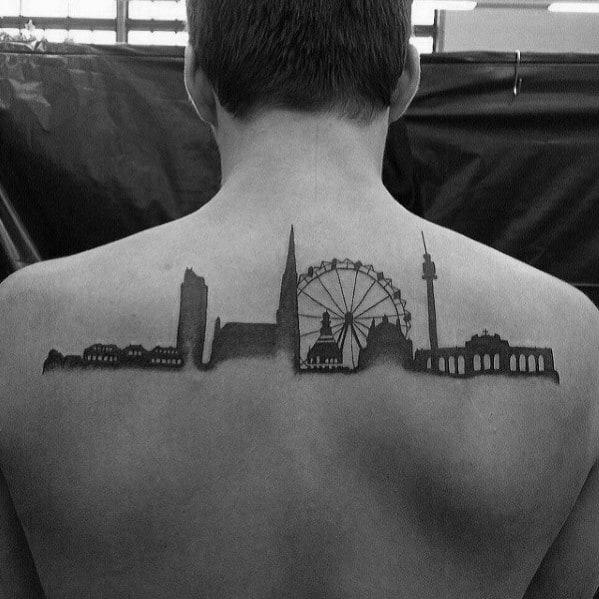 Awesome Mens Upper Back Skyline Tattoo Designs