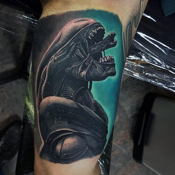 Awesome Mens Watecolor Background Alien Inner Arm Tattoos