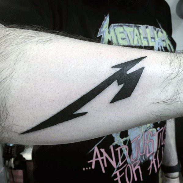 Awesome Metallica Logo Inner Forearm Tattoos For Men