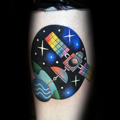 Awesome Modern Colorful Satellite Floating In Outer Space Tattoos For Men