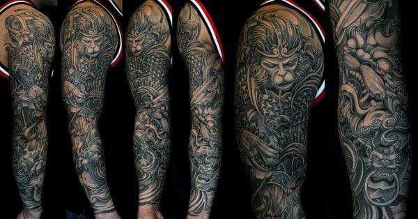 Awesome Monkey King Male Full Sleeve Tattoo Inspiration