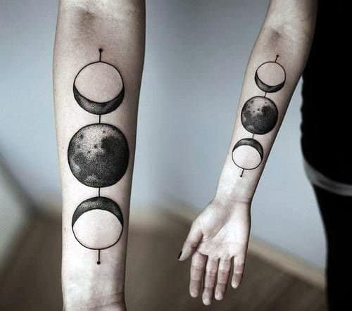 Awesome Moon Phases Male Inner Forearm Tattoo Ideas