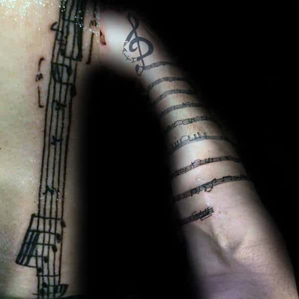 Awesome Music Note Mens Tattoo Armband Ideas