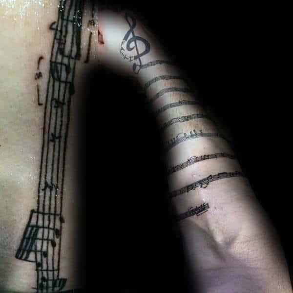 Awesome Music Note Mens Tattoo Armband Ideas