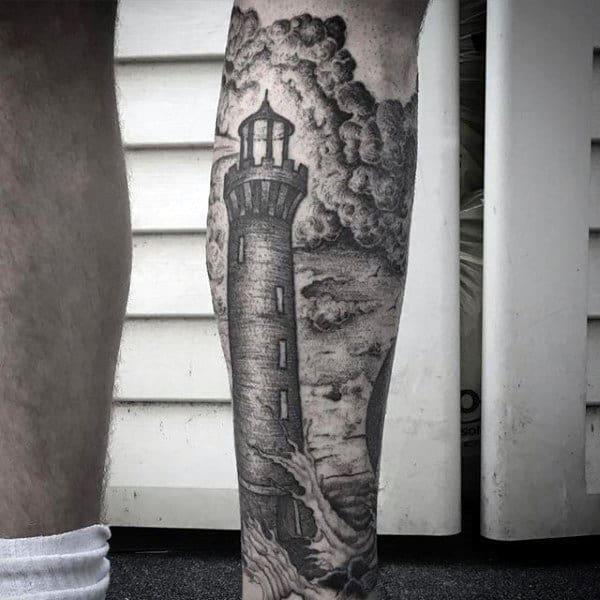 Awesome Nautical Dotwork Mens Lighthouse Leg Sleeve Tattoo