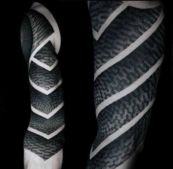Awesome Negative Space Mens Unique Sleeve Tattoos With Black And Grey Ink