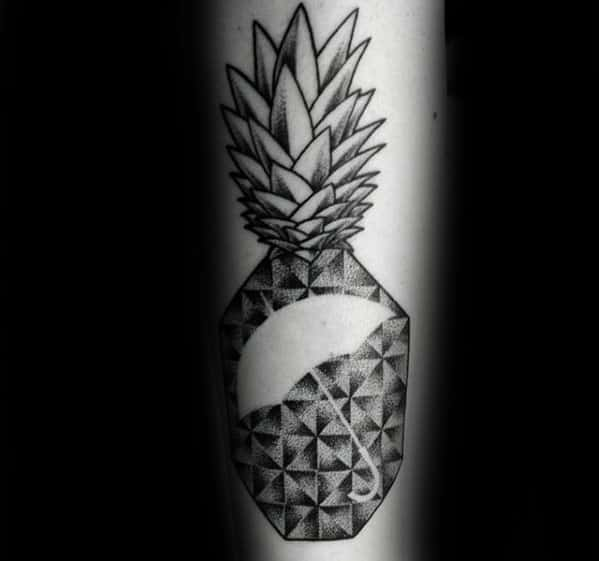Awesome Negative Space Pinapple Geometric Umbrella Tattoos For Men On Forearm