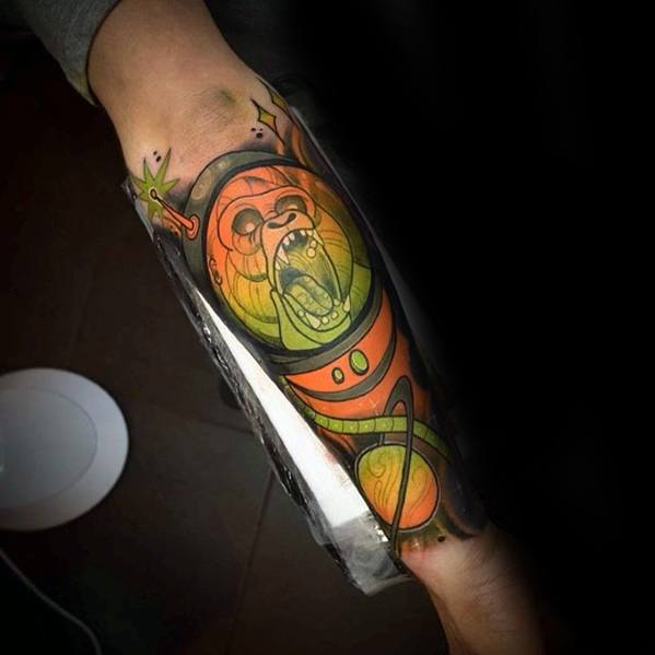 Awesome Neo Traditional Gorilla Tattoos For Men