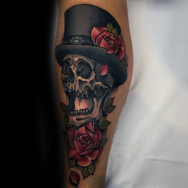 Awesome Neo Traditional Rose Flower Skull With Top Hat Tattoos For Men On Leg
