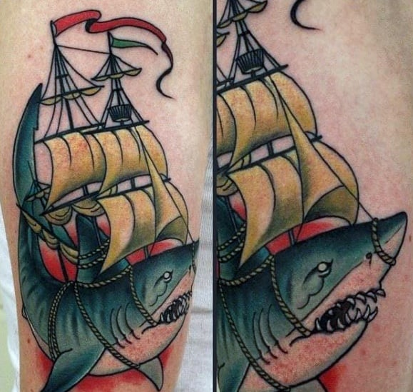 Awesome Neo Traditional Shark Tattoos For Men