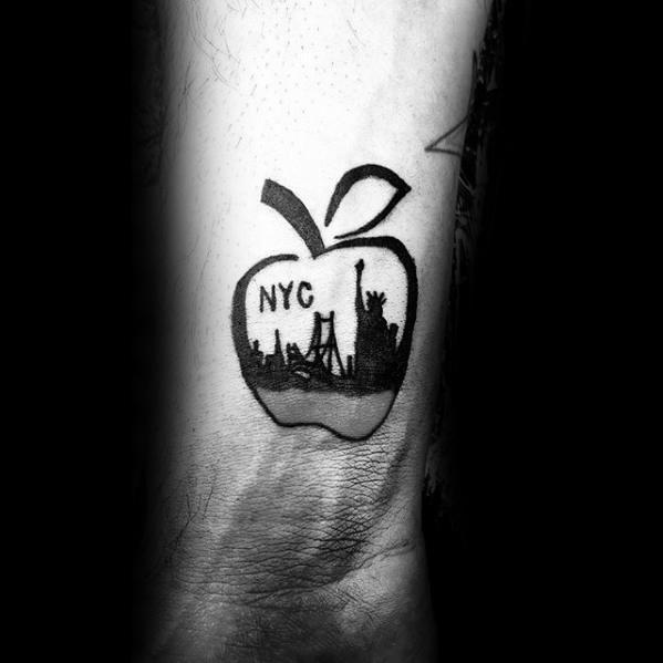 Awesome New York Skyline Apple Forearm Tattoos For Men