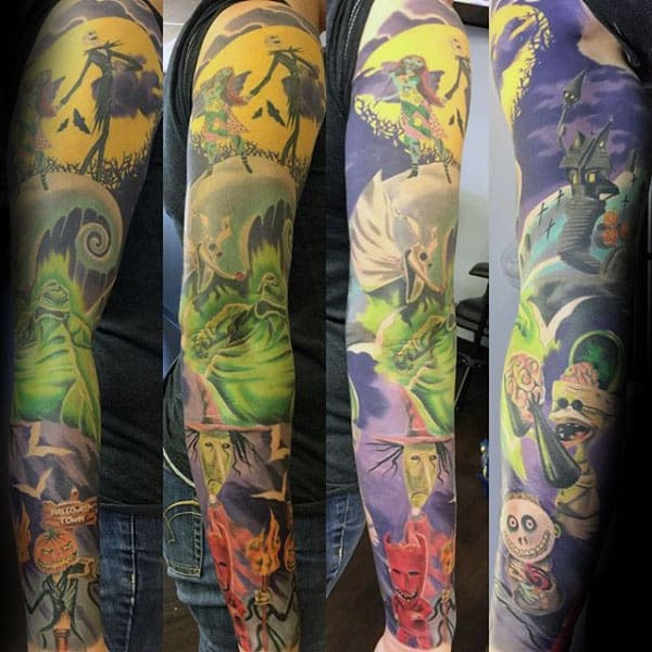 Awesome Night Before Christmas Themed Mens Colorful Sleeve Tattoos