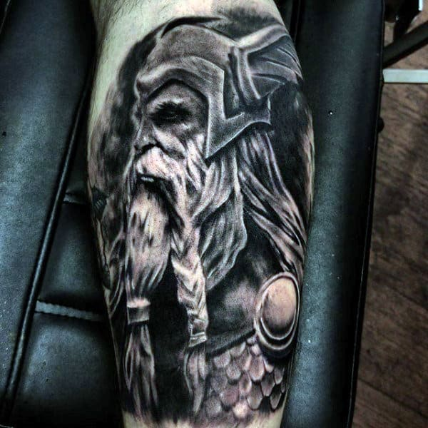 Awesome Norse Mens Odin Leg Sleeve Tattoos