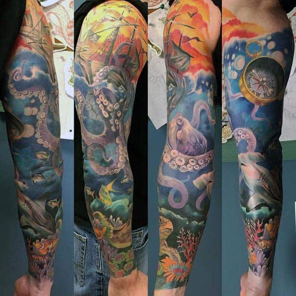 Awesome Ocean Tattoo Sleeve Designs For Men