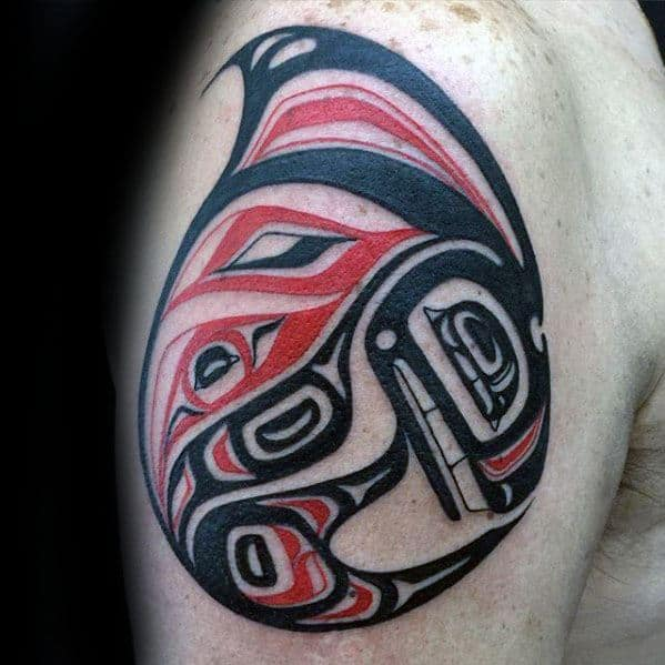 Awesome Orca Tribal Red And Black Ink Tattoos For Men