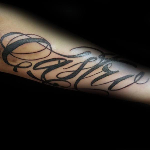 Awesome Outer Forearm Tattoo On Male With Script Design