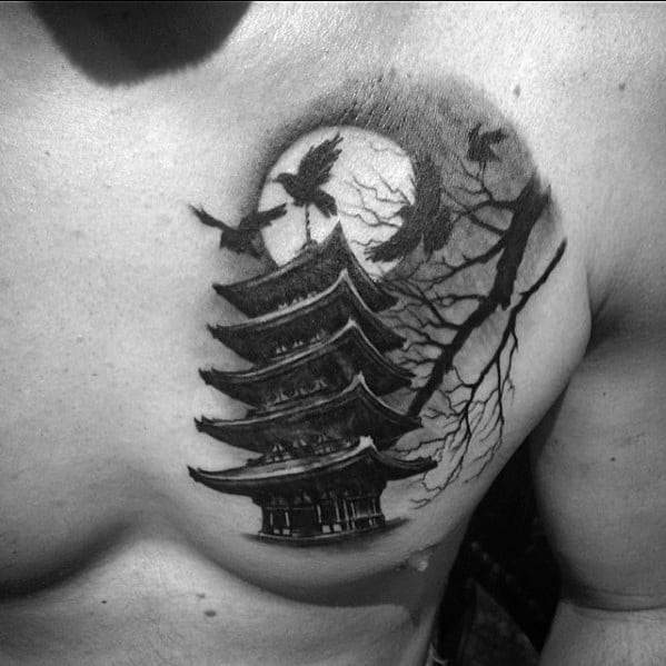 Awesome Pagoda Tattoos For Men Upper Chest