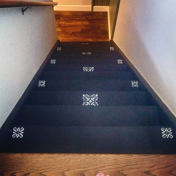 Awesome Painted Stairs Ideas Black With White Pattern