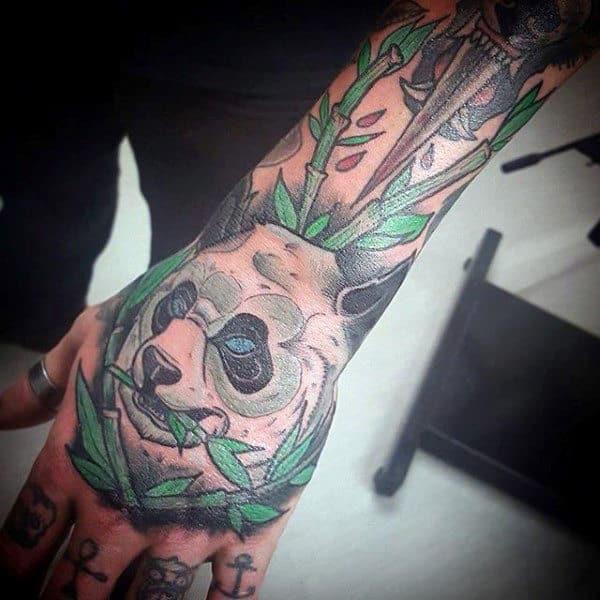 Awesome Panda Bear Mens Hand Tattoo