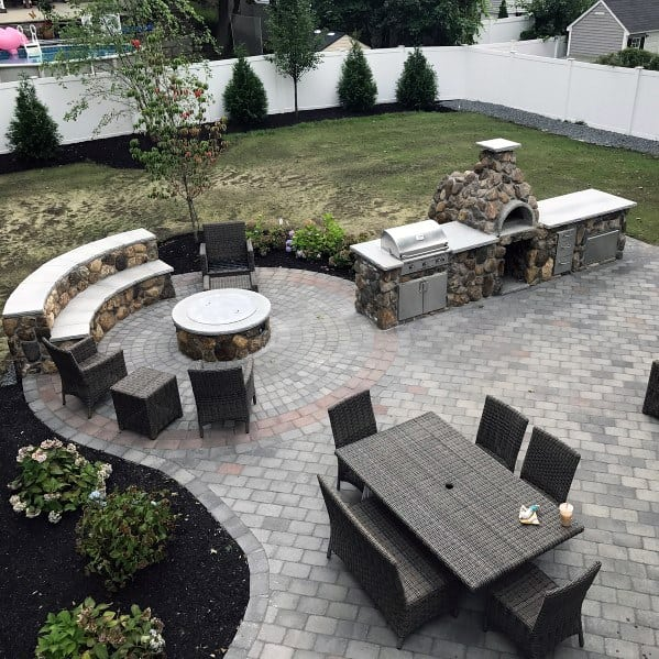 Awesome Paver Patio Built In Grill Ideas With Wood Burning Stove