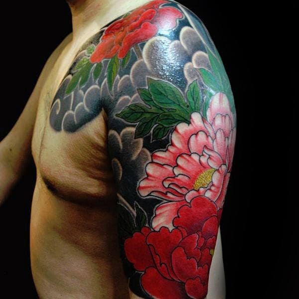 Awesome Peony Half Sleeve Tattoo On Gentleman With Japanese Clouds