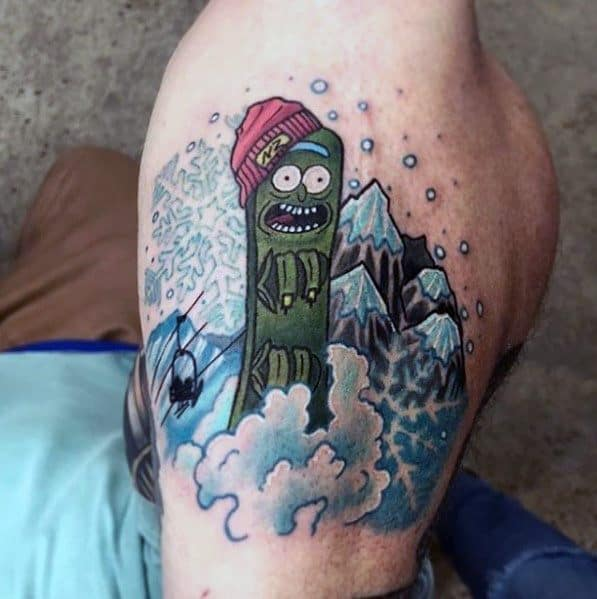 Awesome Pickle Rick Tattoos For Men Outer Forearm