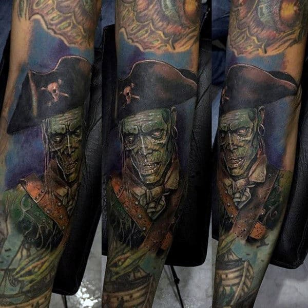 Awesome Pirate Zombie Tattoo Underwater Themed For Guys