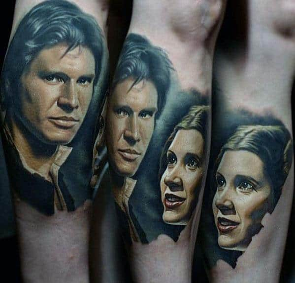 Awesome Portrait Of Han Solo Leg Calf Tattoos For Men