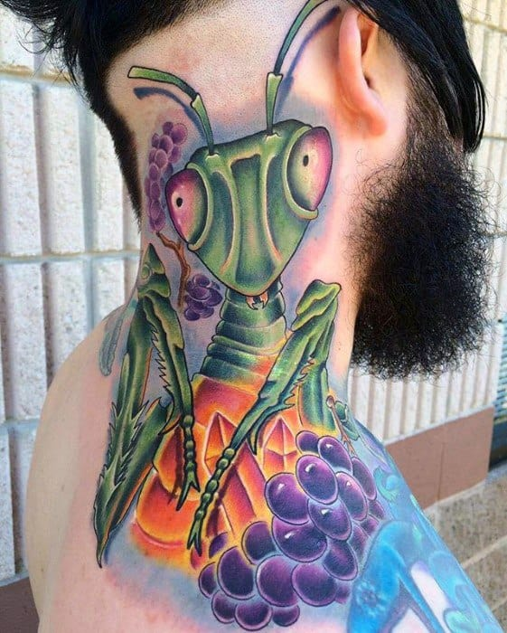 Awesome Praying Mantis Tattoos For Men On Back And Neck