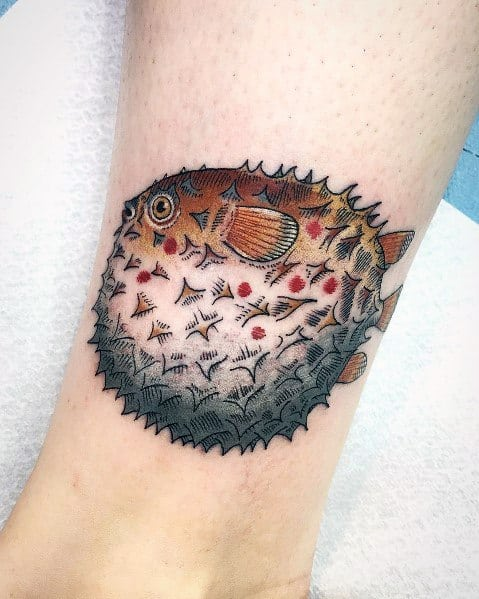Awesome Puffer Fish Tattoos For Men