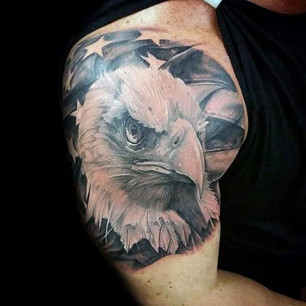 Awesome Quarter Sleeve Guys Patriotic Realsitic Bald Eagle Tattoo Ideas