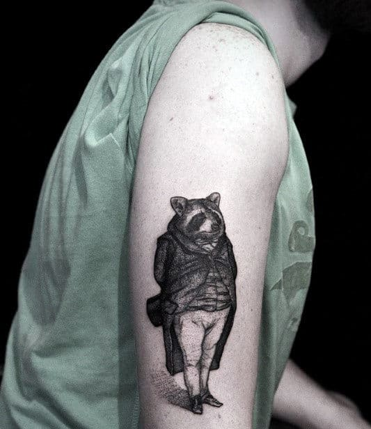 Awesome Raccoon In Business Atire Mens Arm Tattoo