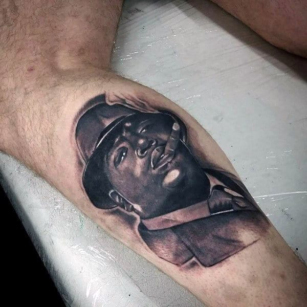 Awesome Rap Artist Leg Calf Tattoos For Males