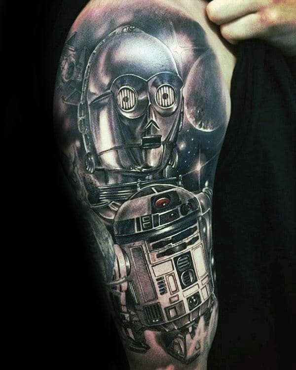 Awesome Rd2d Mens Black And Grey Half Sleeve Tattoo