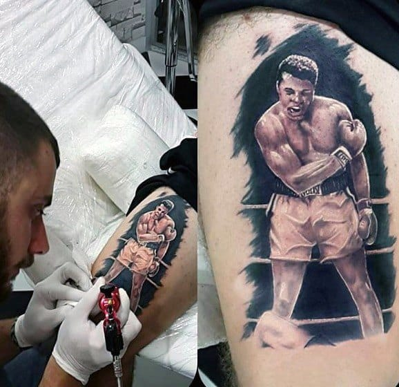 Awesome Realistic 3d Thigh Muhammad Ali Tattoos For Men