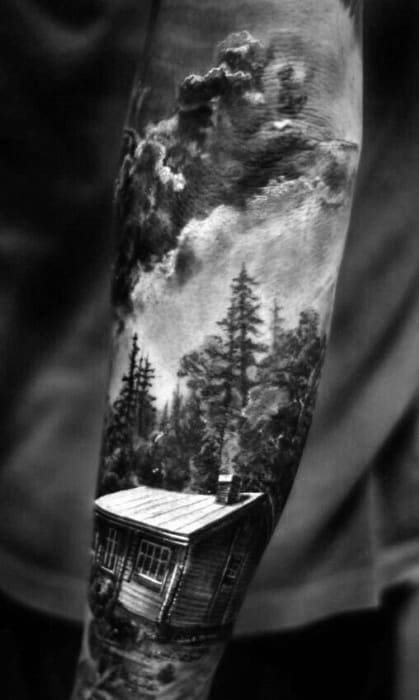 Awesome Realistic Cabin 3d Mens Full Arm Sleeve Tattoo