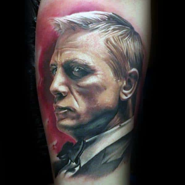 Awesome Realistic James Bond Portrait Leg Tattoos For Men