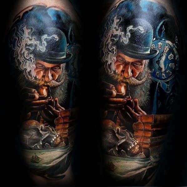 awesome-realistic-skull-on-table-guys-half-sleeve-tattoo