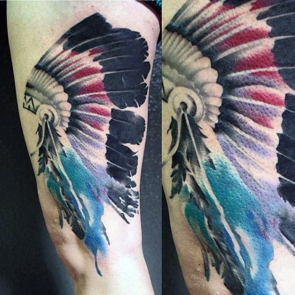 Awesome Red Indian Feather Tattoo On Thighs For Guys