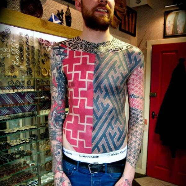 Awesome Red Ink Pattern Male Chest Tattoos Plus Sign