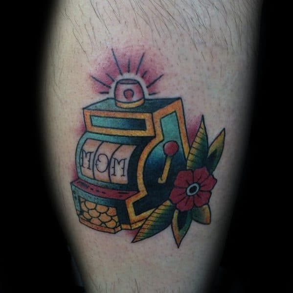 Awesome Retro Mom Memorial Slot Machine Tattoos For Men On Leg Calf