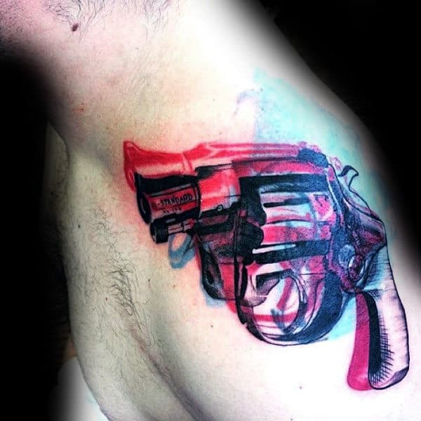 Awesome Revolver Pop Art Mens Shoulder Tattoos
